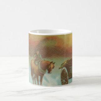 Vintage Christmas Horse Buggie Coffee Mug