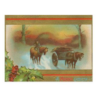 Vintage Christmas Horse Buggie Postcard
