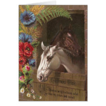 Vintage Christmas Horse Card