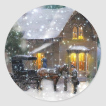 Vintage Christmas Horse Carriage Winter Scene Classic Round Sticker