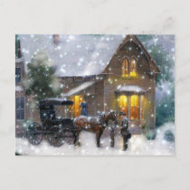 Vintage Christmas Horse Carriage Winter Scene Holiday Postcard