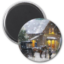 Vintage Christmas Horse Carriage Winter Scene Magnet