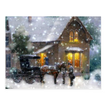 Vintage Christmas Horse Carriage Winter Scene Postcard