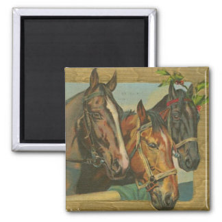 Vintage Christmas Horses 2 Inch Square Magnet