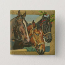 Vintage Christmas Horses Button