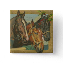 Vintage Christmas Horses Button