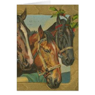 Vintage Christmas Horses Card