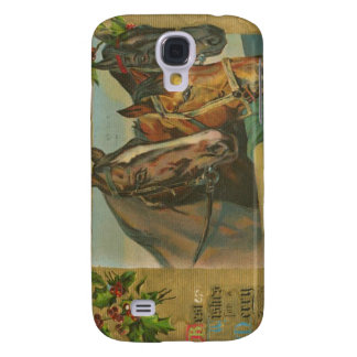 Vintage Christmas Horses Galaxy S4 Cover
