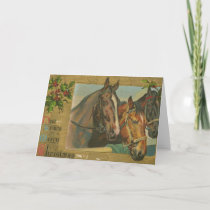 Vintage Christmas Horses Holiday Card
