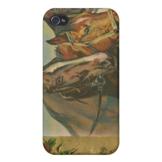 Vintage Christmas Horses iPhone 4 Covers