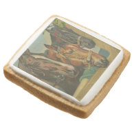 Vintage Christmas Horses Square Premium Shortbread Cookie