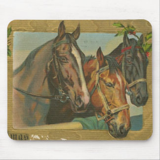 Vintage Christmas Horses Mouse Pad