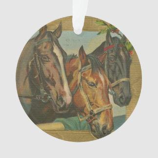 Vintage Christmas Horses Ornament