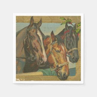 Vintage Christmas Horses Paper Napkin