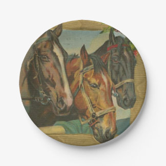Vintage Christmas Horses 7 Inch Paper Plate