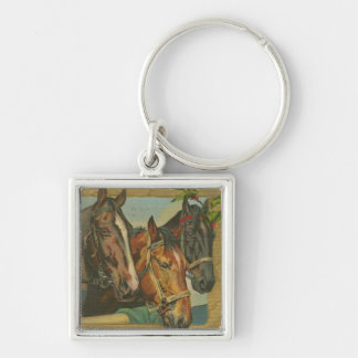 Vintage Christmas Horses Silver-Colored Square Keychain