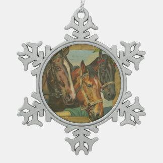 Vintage Christmas Horses Snowflake Pewter Christmas Ornament