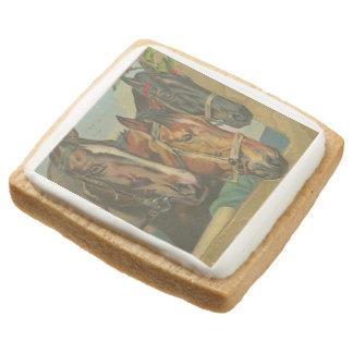 Vintage Christmas Horses Square Shortbread Cookie