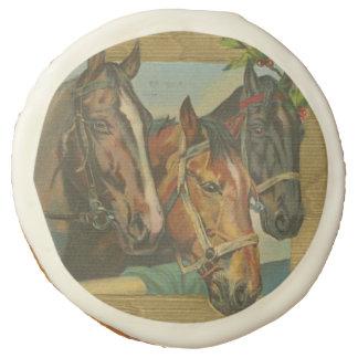 Vintage Christmas Horses Sugar Cookie