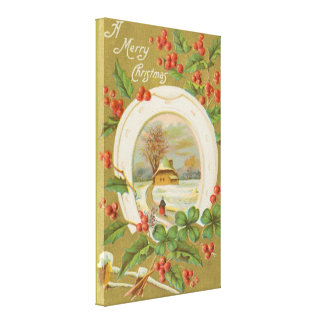 Vintage Christmas Horseshoe and Holly Canvas Print