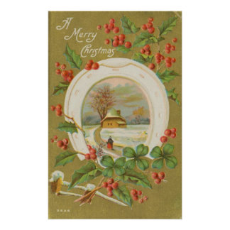 Vintage Christmas Horseshoe and Holly Poster