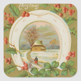 Vintage Christmas Horseshoe and Holly Stickers