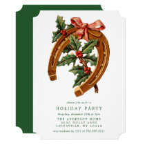Vintage Christmas Horseshoe Holly Holiday Party Invitation
