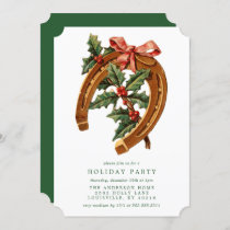 Vintage Christmas Horseshoe Holly Holiday Party Invitation