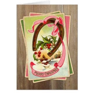 Vintage Christmas Horseshoe & Winter Scene w/Holly Cards