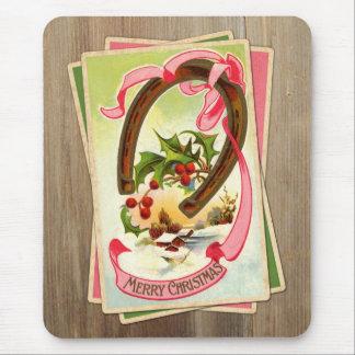 Vintage Christmas Horseshoe & Winter Scene w/Holly Mouse Pad