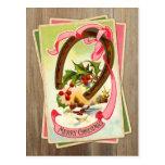 Vintage Christmas Horseshoe & Winter Scene w/Holly Postcard