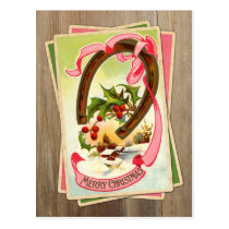 Vintage Christmas Horseshoe & Winter Scene w/Holly Postcard