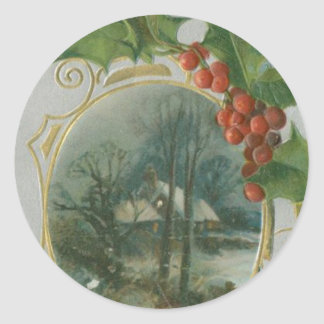 Vintage Christmas House, Bells and Holly Classic Round Sticker