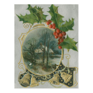 Vintage Christmas House, Bells and Holly Postcard