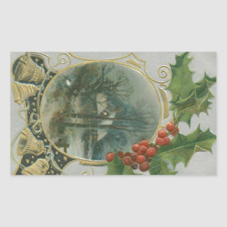 Vintage Christmas House, Bells and Holly Rectangular Sticker
