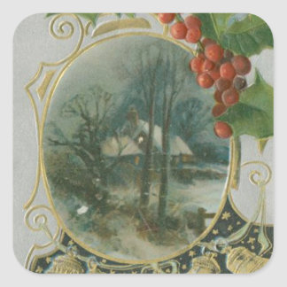 Vintage Christmas House, Bells and Holly Square Sticker