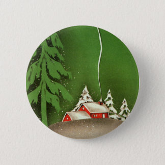 Vintage Christmas, House in Forest Winter Snow Button