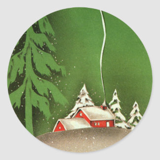 Vintage Christmas, House in Forest Winter Snow Classic Round Sticker