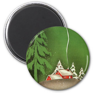 Vintage Christmas, House in Forest Winter Snow Magnet