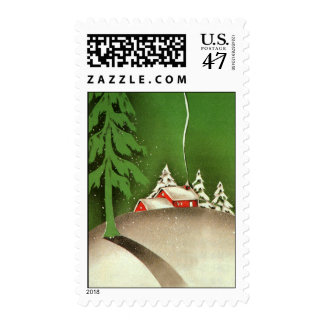 Vintage Christmas, House in Forest Winter Snow Postage Stamp