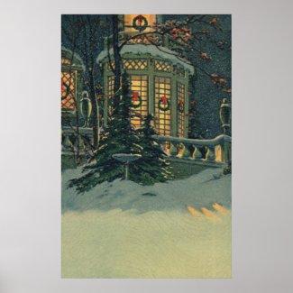 Vintage Christmas House Snow Wreaths Windows Print