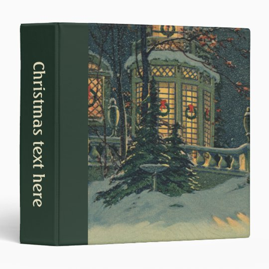 Vintage Christmas, House with Wreaths in Windows Binder