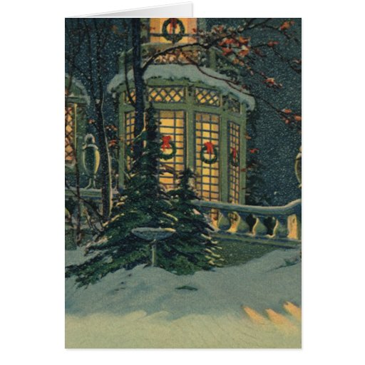 Vintage Christmas, House with Wreaths in Windows Greeting Card