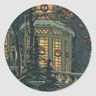 Vintage Christmas, House with Wreaths in Windows Classic Round Sticker