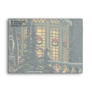 Vintage Christmas, House with Wreaths in Windows Envelope