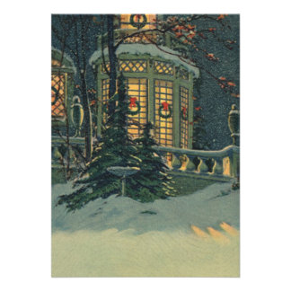Vintage Christmas, House with Wreaths in Windows Announcement