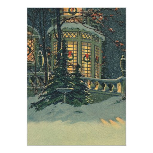 Vintage Christmas, House with Wreaths in Windows 5x7 Paper Invitation Card