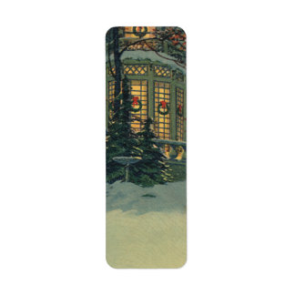 Vintage Christmas, House with Wreaths in Windows Return Address Label