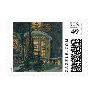 Vintage Christmas, House with Wreaths in Windows Postage Stamp