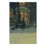Vintage Christmas, House with Wreaths in Windows Print